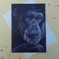 Thoughtful Chimp Blank Greeting Card From my Original Acrylic Painting