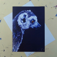 Ring Tailed Lemur Blank Greeting Card From my Original Acrylic Painting