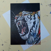 Tiger Roar Blank Greeting Card From my Original Acrylic Painting