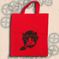 Steampunk Cat Tote Bag Animal Linocut Hand Printed Red Shopping Bag
