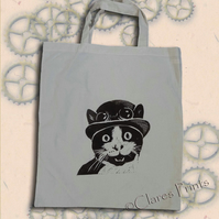 Steampunk Cat Tote Bag Animal Linocut Hand Printed Cream Shopping Bag