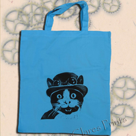 Steampunk Cat Tote Bag Animal Linocut Hand Printed Blue Shopping Bag