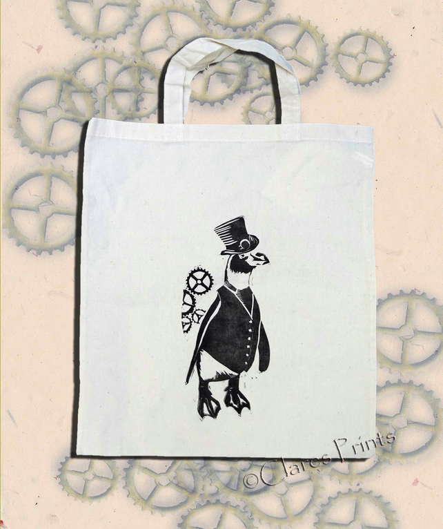 Steampunk PenguinTote Bag Animal Linocut Hand Printed Cream Shopping Bag