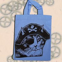 Pirate Cat Tote Hand Printed Lilac Mini Tote Shopping Bag