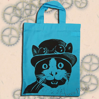 Steampunk Cat Tote Hand Printed Turquoise Mini Tote Shopping Bag