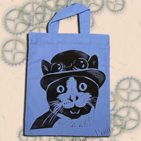 Steampunk Cat Tote Hand Printed Lilac Mini Tote Shopping Bag