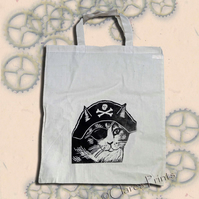 Pirate Cat Tote Bag Animal Linocut Hand Printed Cream Shopping Bag