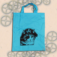Pirate Cat Tote Animal Linocut Hand Printed Blue Shopping Bag