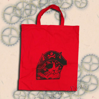 Pirate Cat Tote Animal Linocut Hand Printed Red Shopping Bag