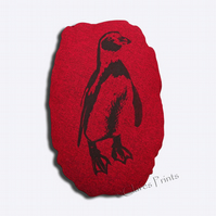 Penguin Stuffie Cushion Hand Printed Linocut Handmade