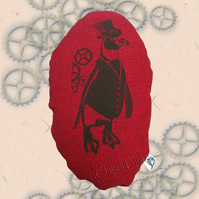 Steampunk Penguin Red Stuffie Cushion Hand Printed Linocut Handmade