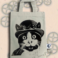 Steampunk Cat Tote Hand Printed Mini Tote Shopping Bag