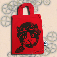 Steampunk Cat Tote Hand Printed Red Mini Tote Shopping Bag