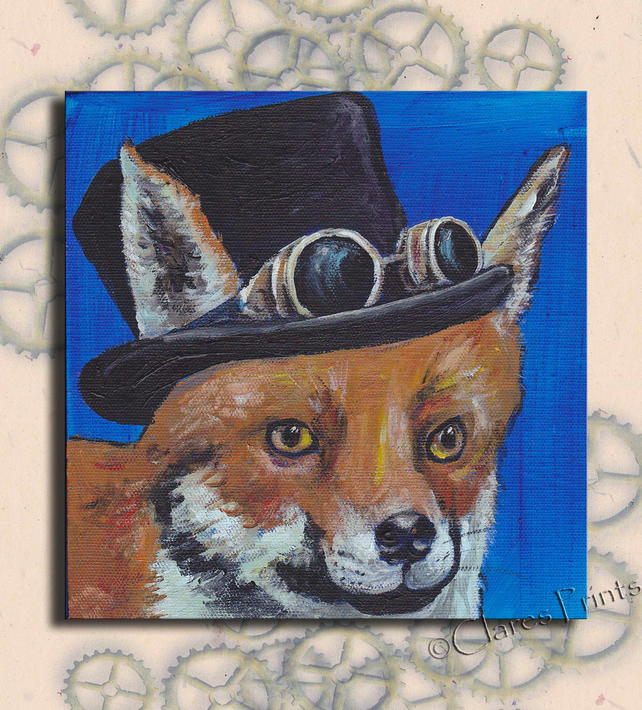 Steampunk Fox Original Art Acrylic Painting on Canvas Retro