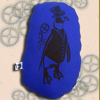 Steampunk Penguin Blue Stuffie Cushion Hand Printed Linocut Handmade