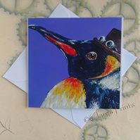 Steampunk Penguin Art Greeting Card From my Original Painting
