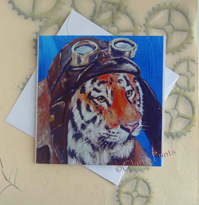 Flying Tiger Art Greeting Card From my Original Painting