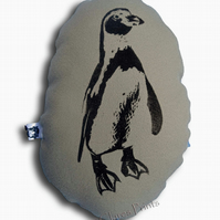 Penguin Stuffie Cream Cushion Hand Printed Linocut Handmade