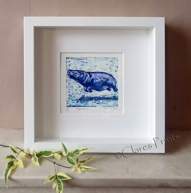 Purple Hippo Swim Art Original Collagraph Print Animal
