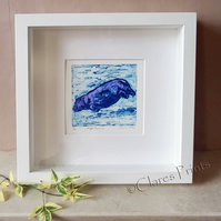 Purple Hippo Swim 2 Art Original Collagraph Print Animal