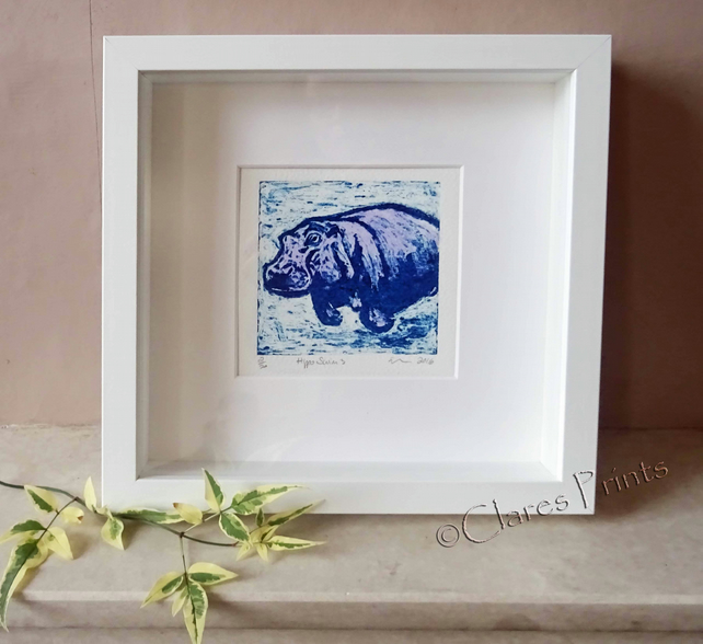 Purple Hippo Swim 3 Art Original Collagraph Print Animal