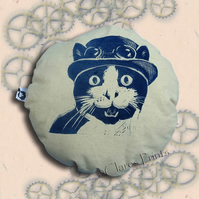 Steampunk Cat Cream Stuffie Cushion Hand Printed Linocut Handmade