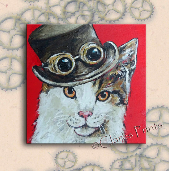 Titfer Cat Original Art Acrylic Painting on Canvas OOAK Retro Steampunk