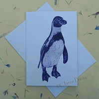 Purple Penguin Blank Greeting Card From my Collagraph Art Print