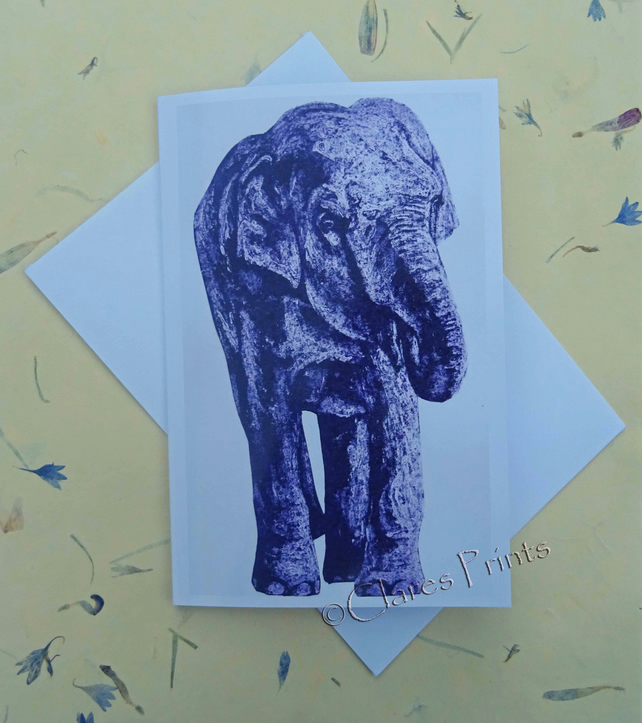 Purple Elephant Blank Greeting Card From my Collagraph Art Print