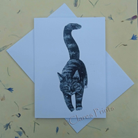 Black Cat Blank Greeting Card From my Collagraph Art Print