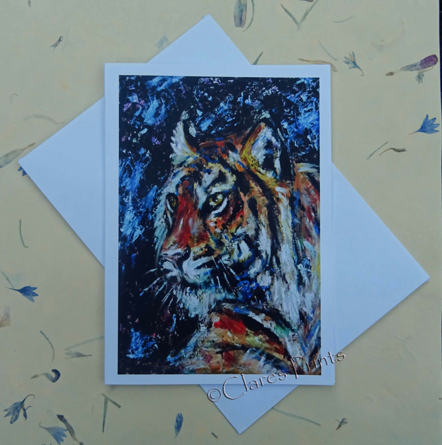 Tiger Art Blank Greeting Card From my Original Oil Painting