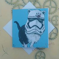 Stormtrooper Star Wars Cat Art Greeting Card From my Original Painting