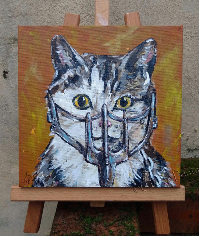 Mad Max Film Cat Original Art Acrylic Painting on Canvas OOAK Retro Steampunk
