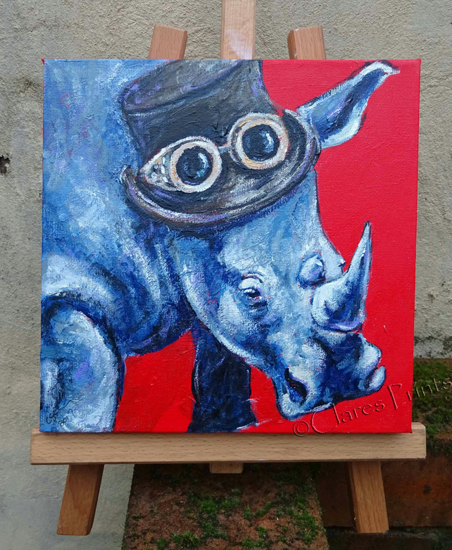 Steampunk Rhino Original Art Acrylic Painting on Canvas OOAK Retro