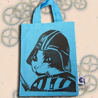 Darth Vadar Cat Tote Hand Printed Turquoise Mini Tote Shopping Bag
