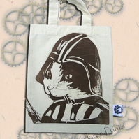 Darth Vadar Cat Tote Hand Printed Cream Mini Tote Shopping Bag