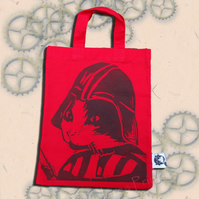 Darth Vadar Cat Tote Hand Printed Red Mini Tote Shopping Bag