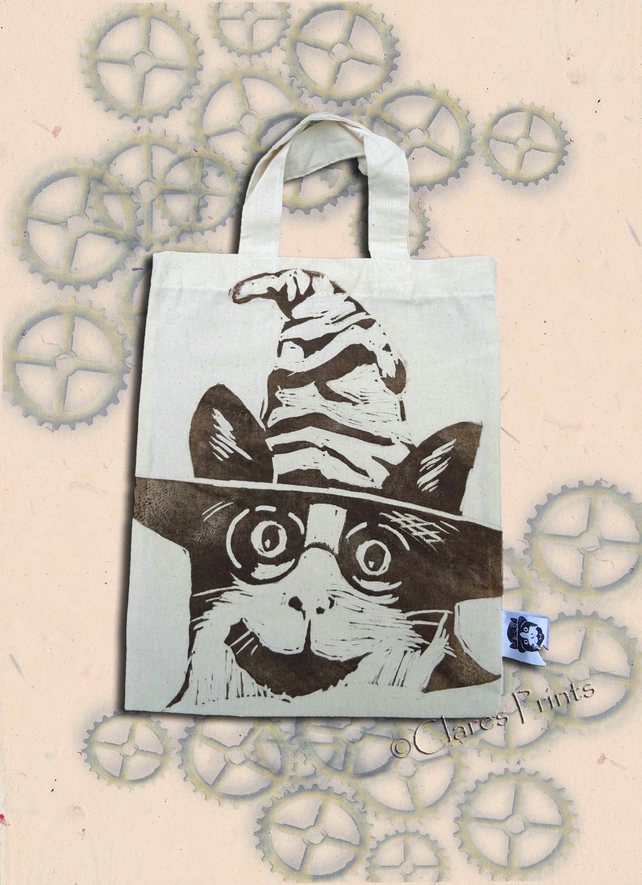 Harry Potter Cat Tote Hand Printed Cream Mini Tote Shopping Bag