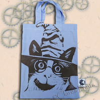 Harry Potter Cat Tote Hand Printed Lilac Mini Tote Shopping Bag
