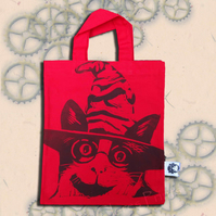 Harry Potter Cat Tote Hand Printed Red Mini Tote Shopping Bag