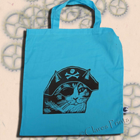 Pirate Cat Tote Bag Animal Linocut Hand Printed Blue Shopping Bag