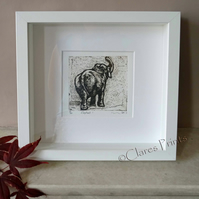 Elephant 1 Art Original Collagraph Print Animal