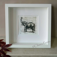 Elephant 2 Art Original Collagraph Print Animal