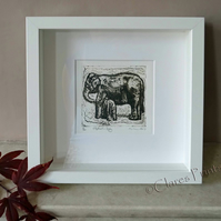 Elephant & Baby Art Original Collagraph Print Animal