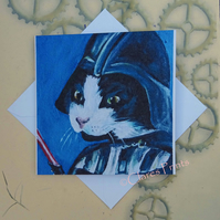 Darth Kitty Cat Art Greeting Card From my Original Painting