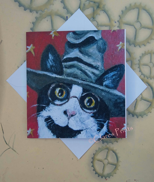 Harry Potter Cat Art Greeting Card From my Original Painting