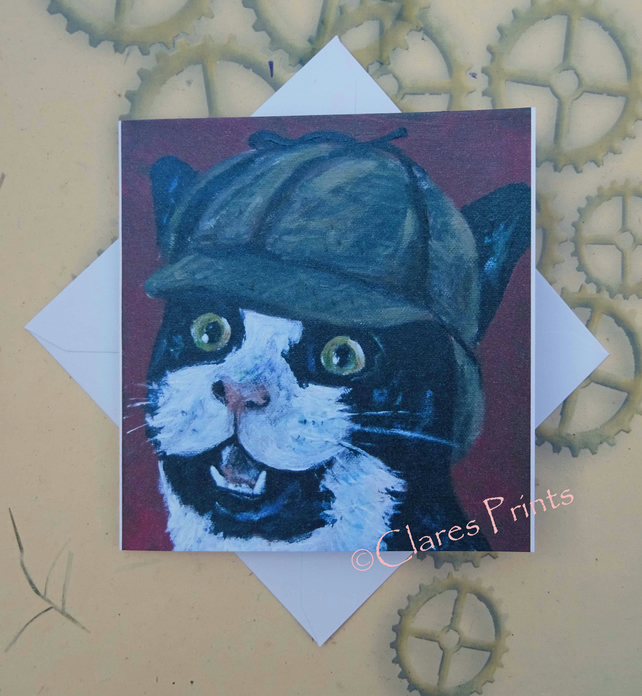 Sherlock Kitty Greeting Card From my Original Painting