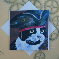 Captain Jack Kitty Greeting Card From my Original Painting