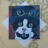 Happy Kitty Greeting Card From my Original Painting