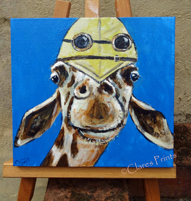 Explorer Giraffe Steampunk Art Original Acrylic Painting